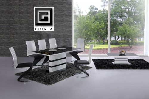K2 White & Black Glass Designer EXTENDING Dining Table Only OR with 4 / 6 Z Leather Chairs Set